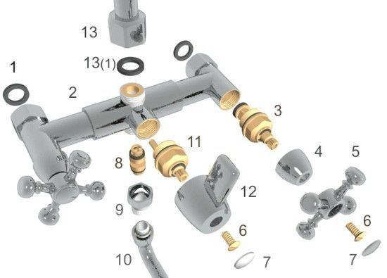 конструкция смесителя с золотниковым переключателем