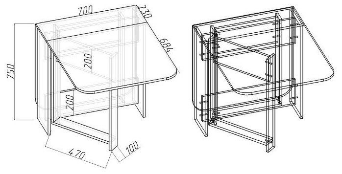 Чертеж небольшого складного стола из дсп