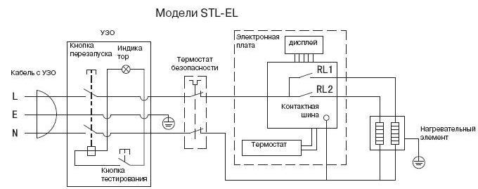 электрическая схема водонагревателя Аристон STL-EL