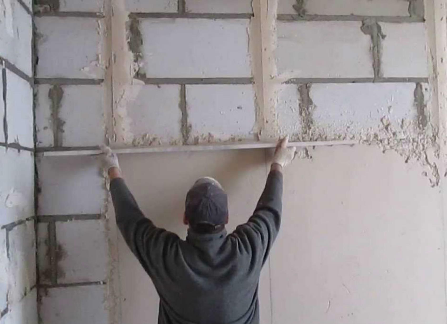 Стяжка стен дома по маякам 🔴 Стяжка и штукатурка стен дома своими руками