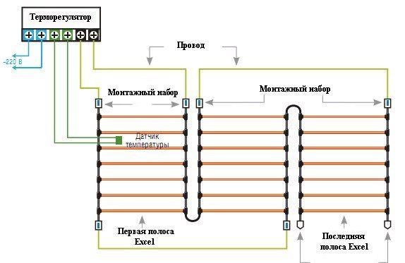 схема подключения карбонового теплого пола