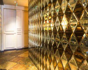 Зеркальная плитка «фасет» в интерьере