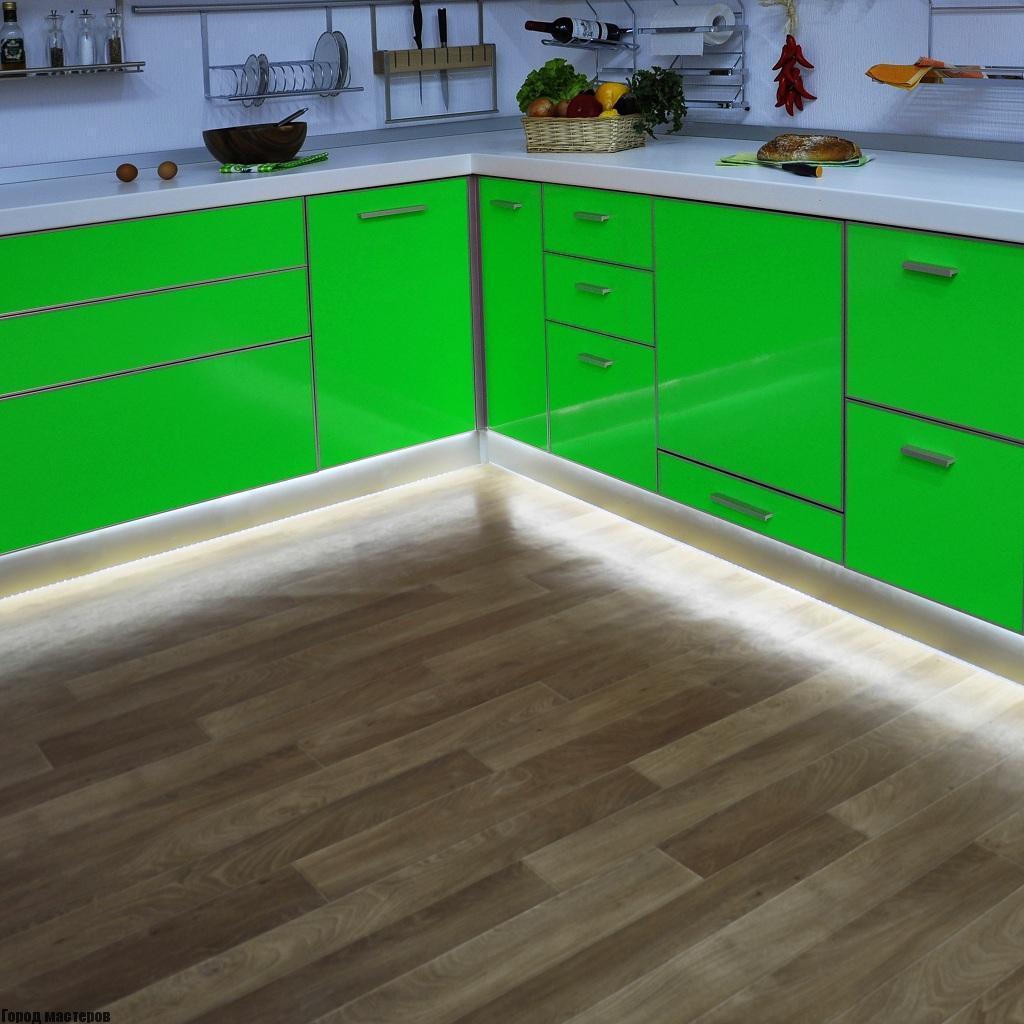 освещение кухни светодиодной лентой