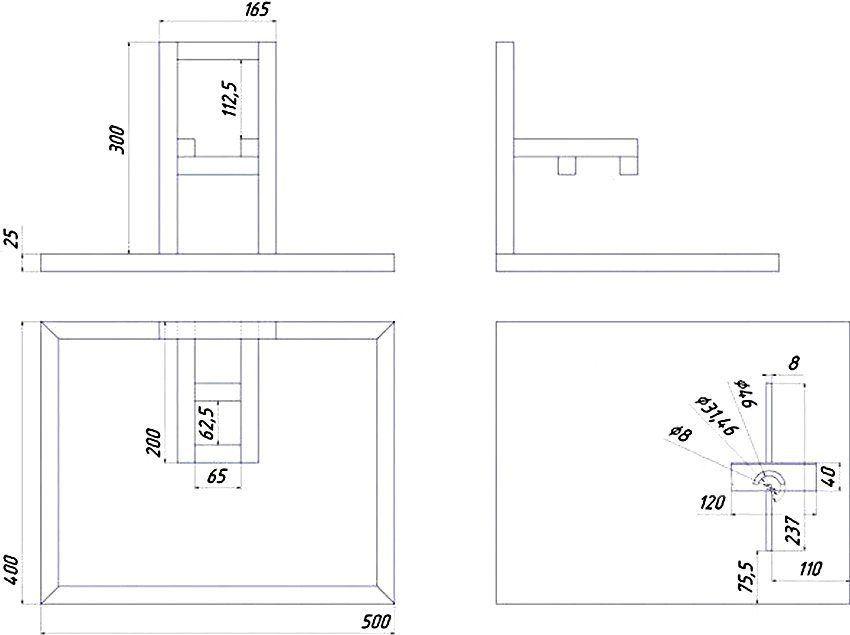 Чертеж отрезного станка рамного типа (габариты рамы зависят от размеров используемого инструмента)
