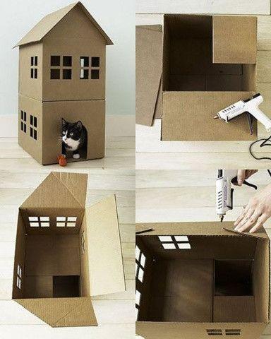 кошкин домик своими руками 🔴 Кошачий домик своими руками