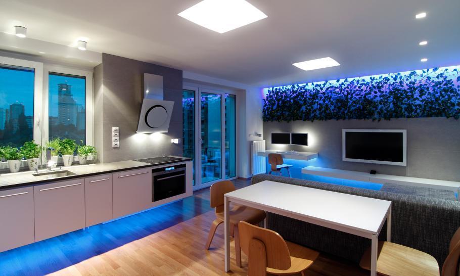 светодиодное освещение квартиры студии