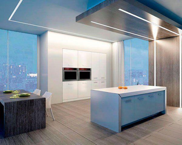 освещение в кухне светодиодной лентой