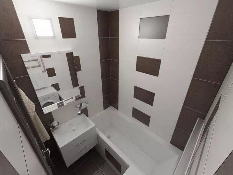Вам следует выбрать ванну компактного размера, не покупать напольные шкафчики и раковину для умывания (взамен часто ставят стиральную машину).