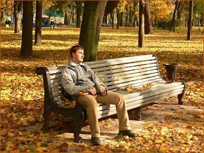 на скамейку в парке
