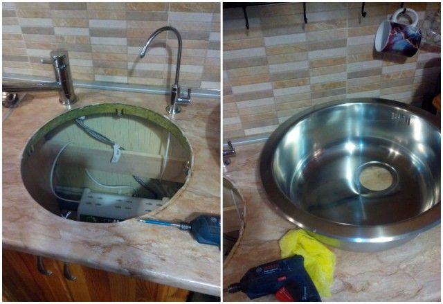 Процесс установки кухонной мойки прост до неприличия, необходимо прорезать ровное отверстие в столешнице и зафиксировать мойку с помощью креплений.