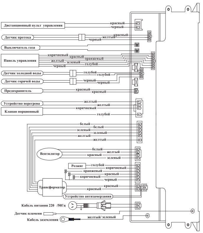 принципиальная электрическая схема газового водонагревателя ARISTON Gi7s