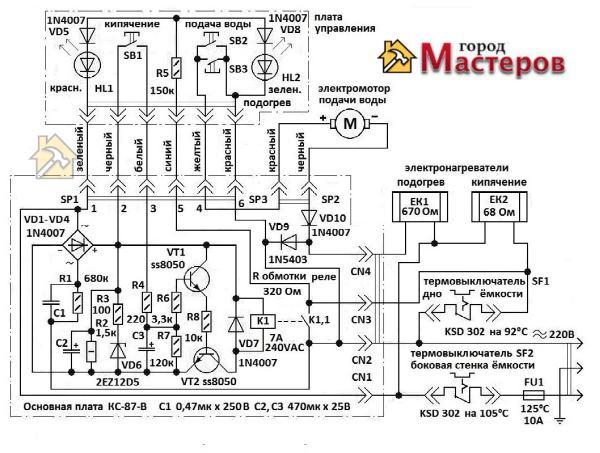 Принципиальная электрическая схема термопота
