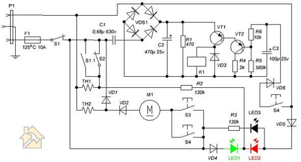 принципиальная электрическая схема термопота с одним датчиком температуры