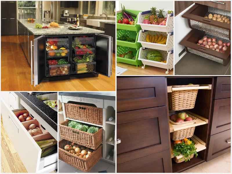 хранение фруктов и овощей на кухне