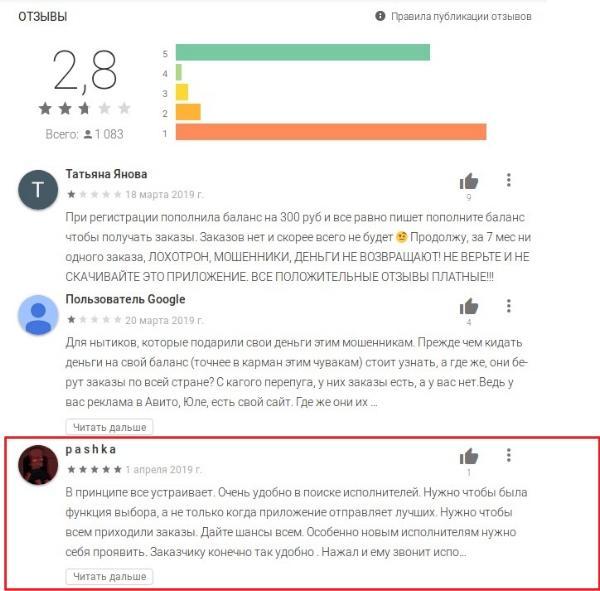 100 услуг приложение - отзывы исполнителей