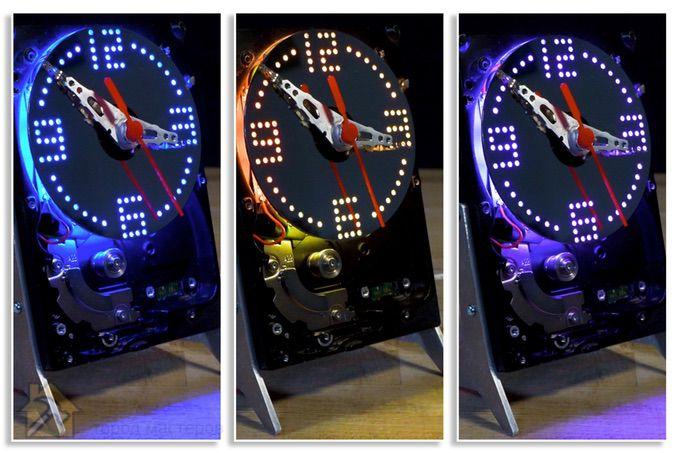 часы из поломанного HDD с подсветкой