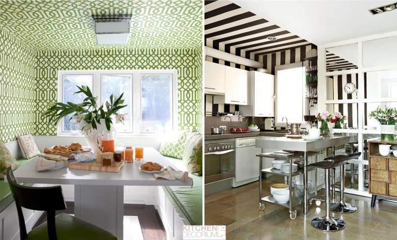 Обои на потолок 🔴 Какой потолок лучше сделать на кухне