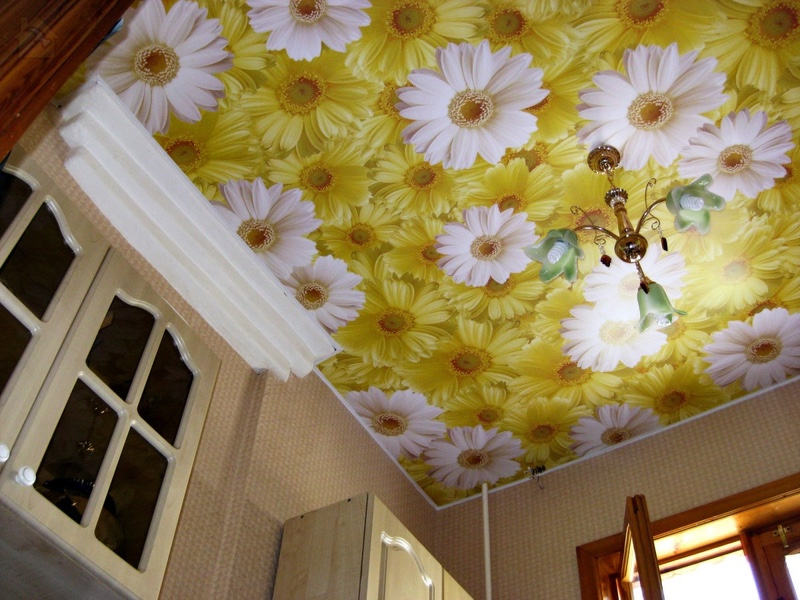 Фото обои на потолке 🔴 Какой потолок лучше сделать на кухне
