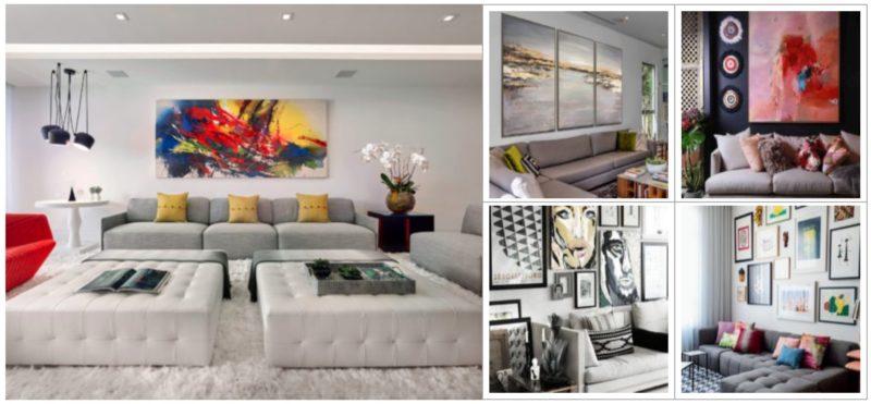 Оформление стен в гостиной - идеи современного интерьера