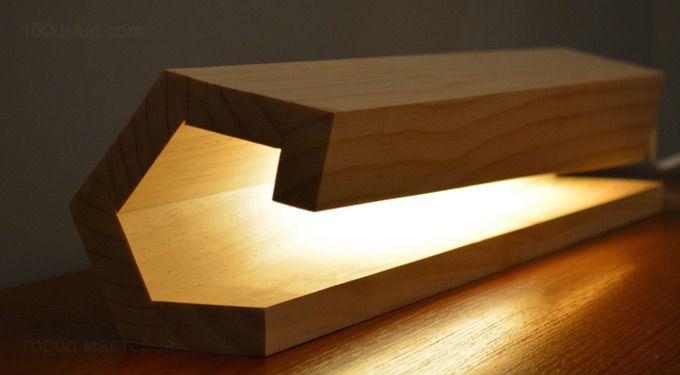 Современная деревянная лампа своими руками из подручных материалов фото