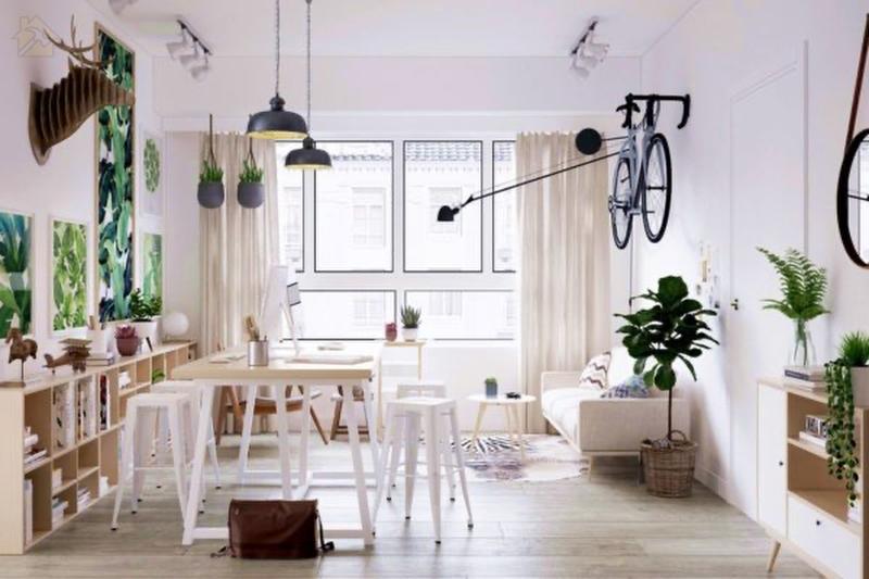 Если вы установите стол таким минималистичным образом, у вас останется много места для творчества.