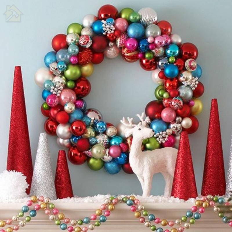 Тинкер Рождественский венок Элегантный дизайн Красивое украшение стен 🔴 Рождественский венок ТИНКЕР из подручных материалов и в необычном дизайне