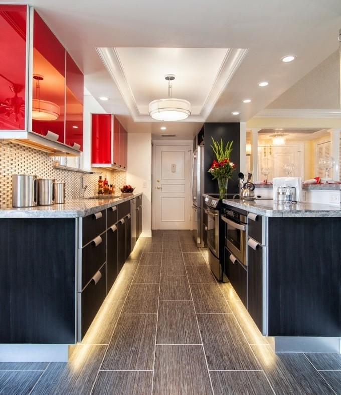 Напольное освещение на кухне 🔴 Редизайн с помощью света использование светодиодной ленты