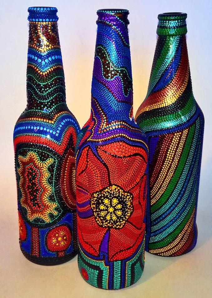 Точечная роспись бутылок 🔴 Точечная роспись как вдохновение для декора и дизайна интерьера