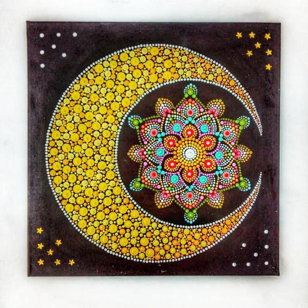 Точечная роспись с изображением полумесяца и звезды 🔴 Точечная роспись как вдохновение для декора и дизайна интерьера