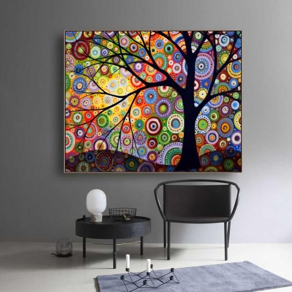 Точечная роспись в современной комнате для медитации и чтения 🔴 Точечная роспись как вдохновение для декора и дизайна интерьера