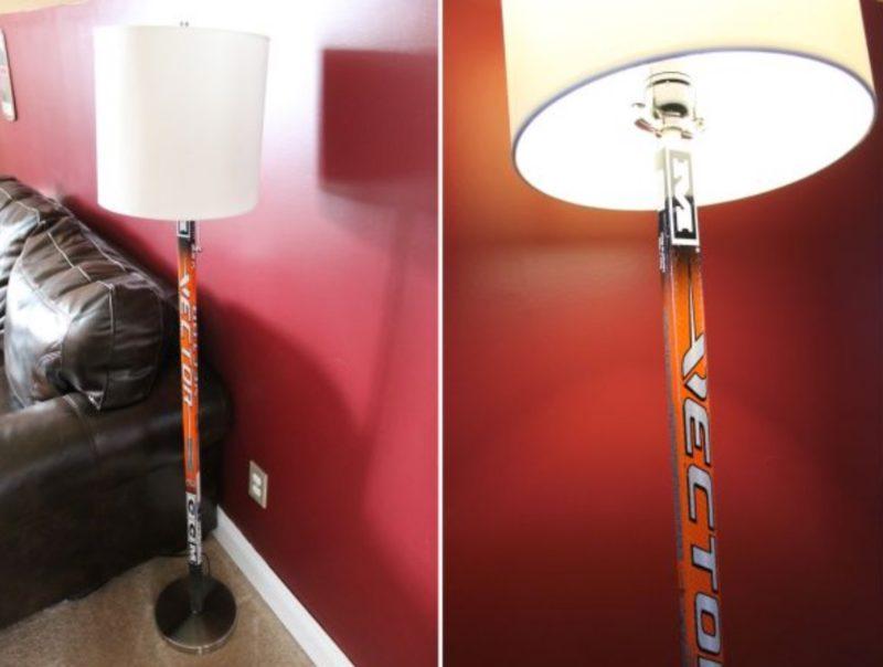 торшер из хоккейной клюшки🔴 Светильник своими руками из подручных материалов