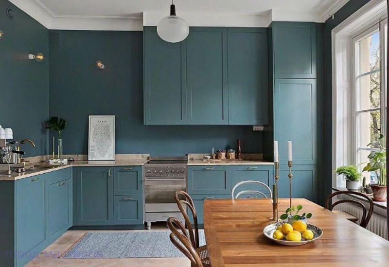 идеи дизайна синей кухни 🔴 Новые идеи дизайна кухни в этом году