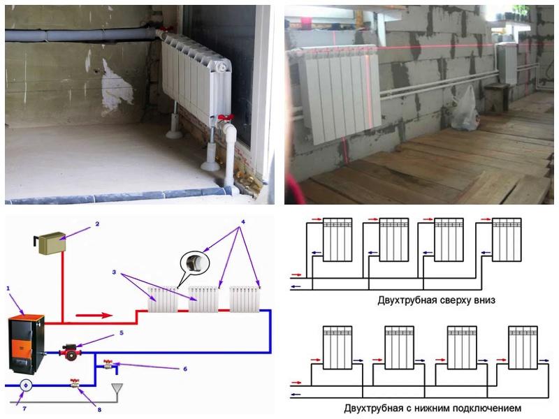 Схемы установки радиаторов отопления и тонкости монтажа