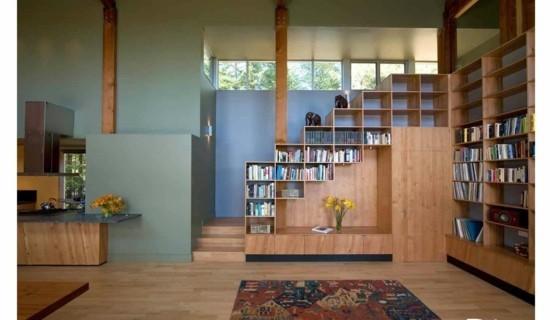 Закрытая система стеллажей под лестницей одна из самых современных идей меблировки 🔴 Оформить полку под лестницу умные идеи